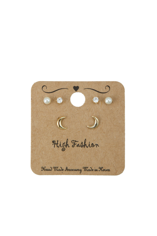 Pearl and Crescent Earring Set