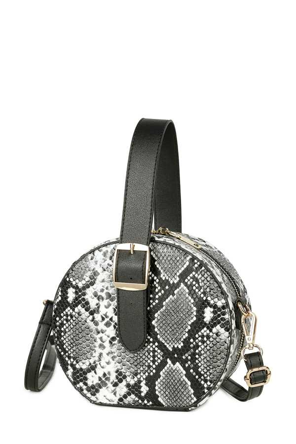 Snake Pattern Round Clutch with Handle