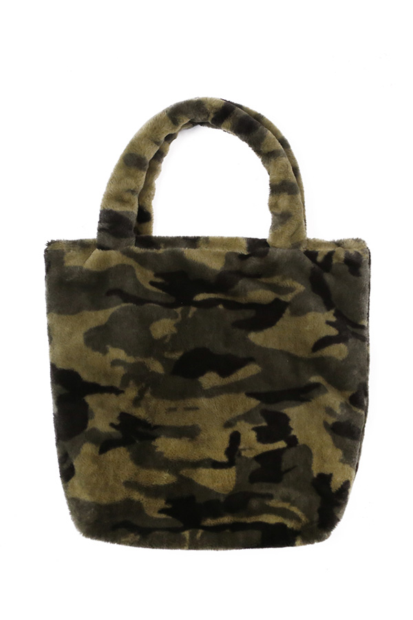 Faux Fur Camouflage Tote Bag
