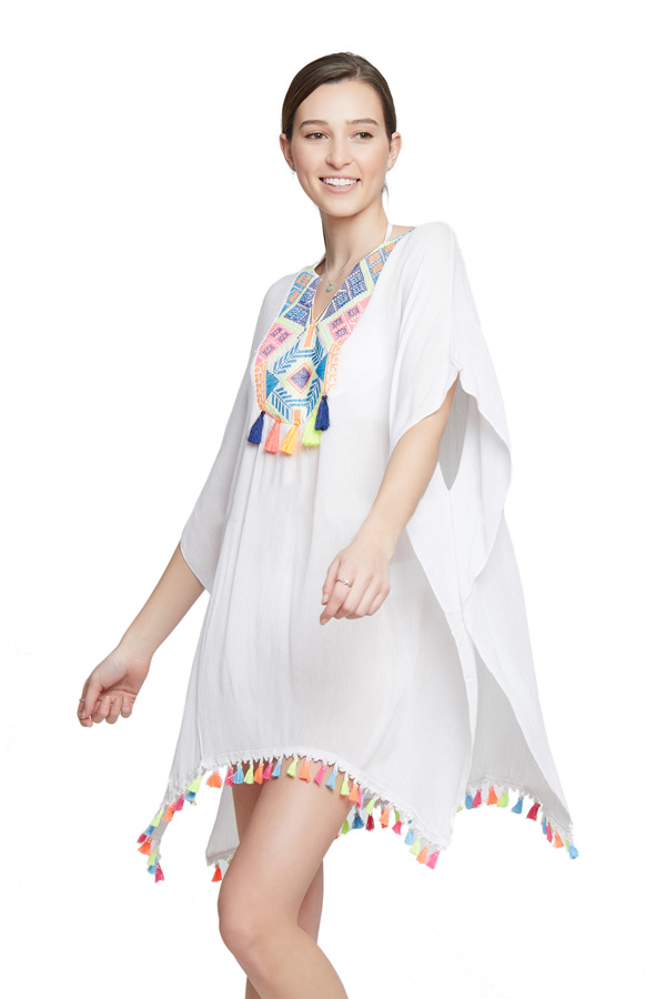 Neon Embroidery Tassel Cover Up