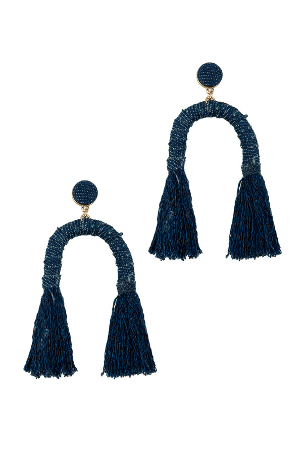 Denim Horse Shoe Tassel Earring