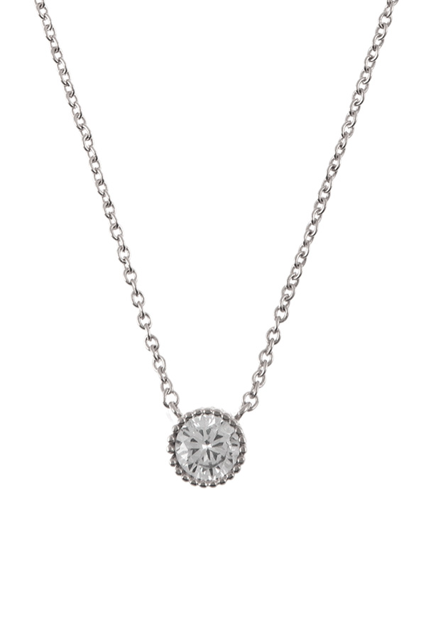 Round crystal charm necklace
