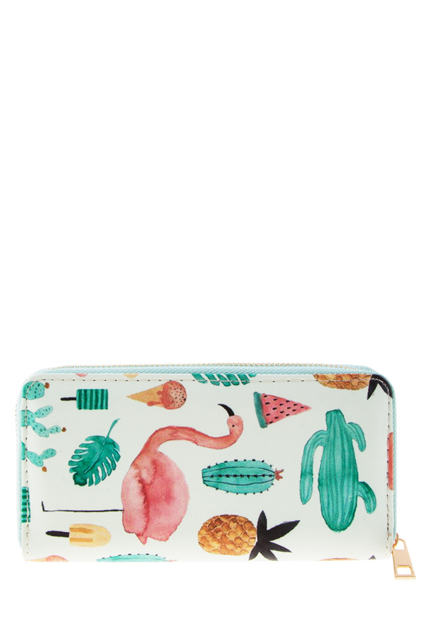 Flamingo and cactus wallet