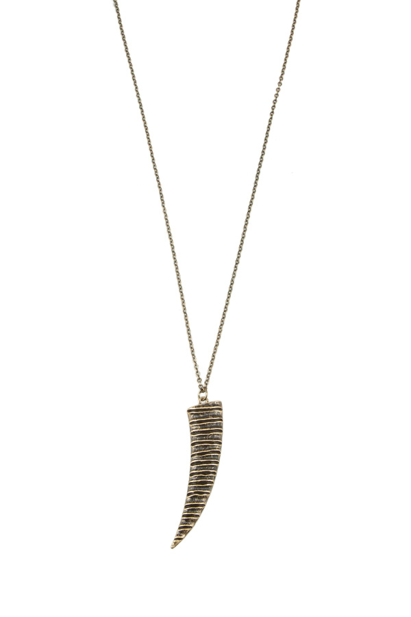 Metal Tusk Pendant Necklace