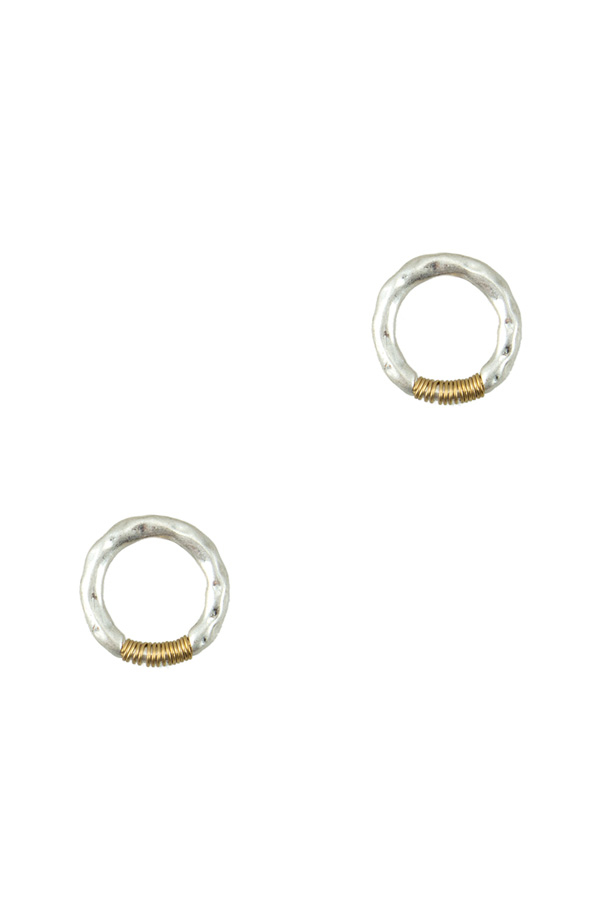 Hammered Wired Circle Stud Earring