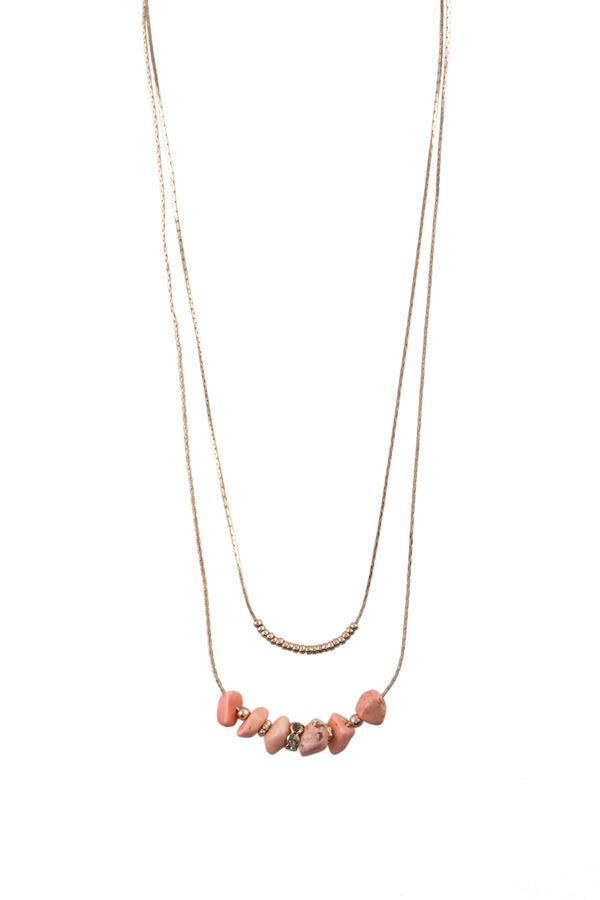 Layered stone and charm necklace