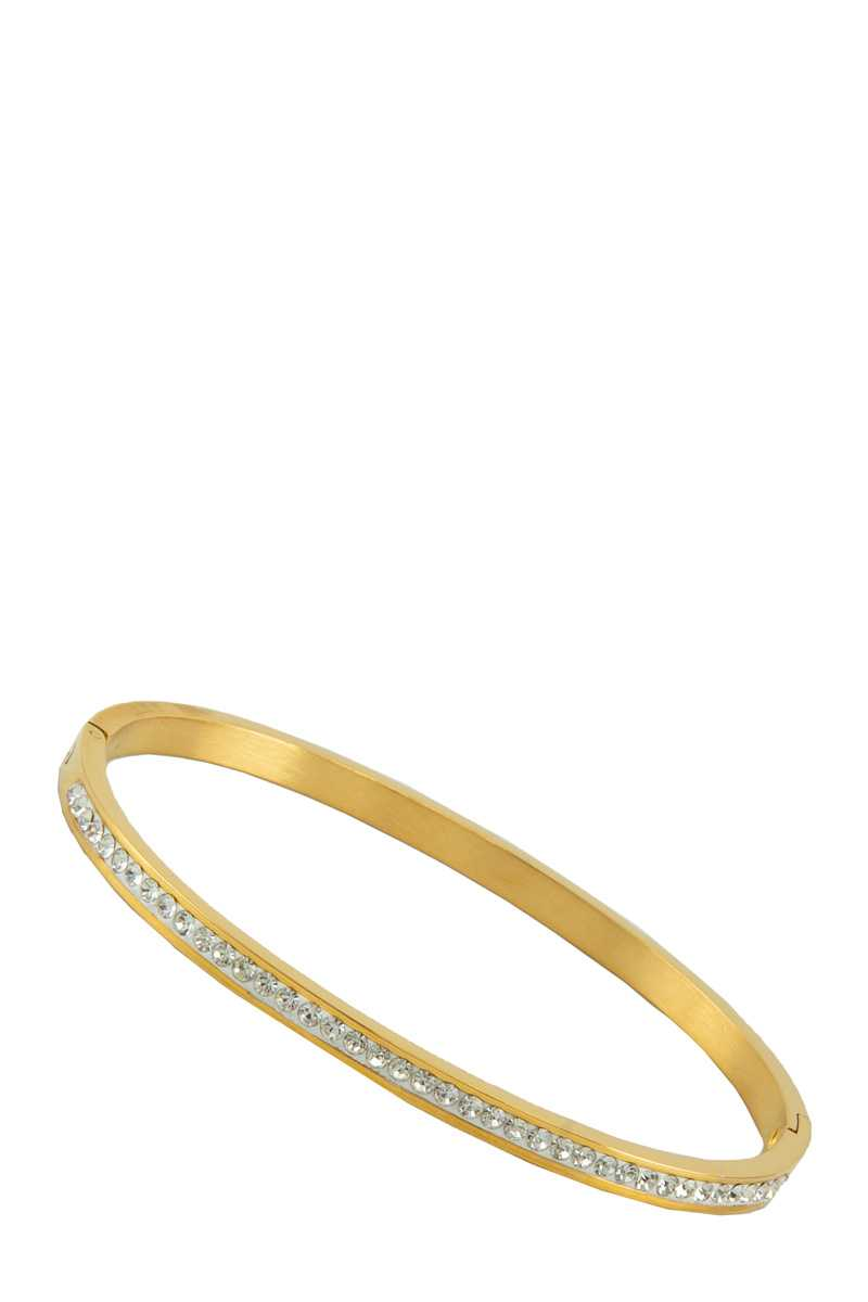 Skinny Rhinestone Bar Accent Bangle Bracelet