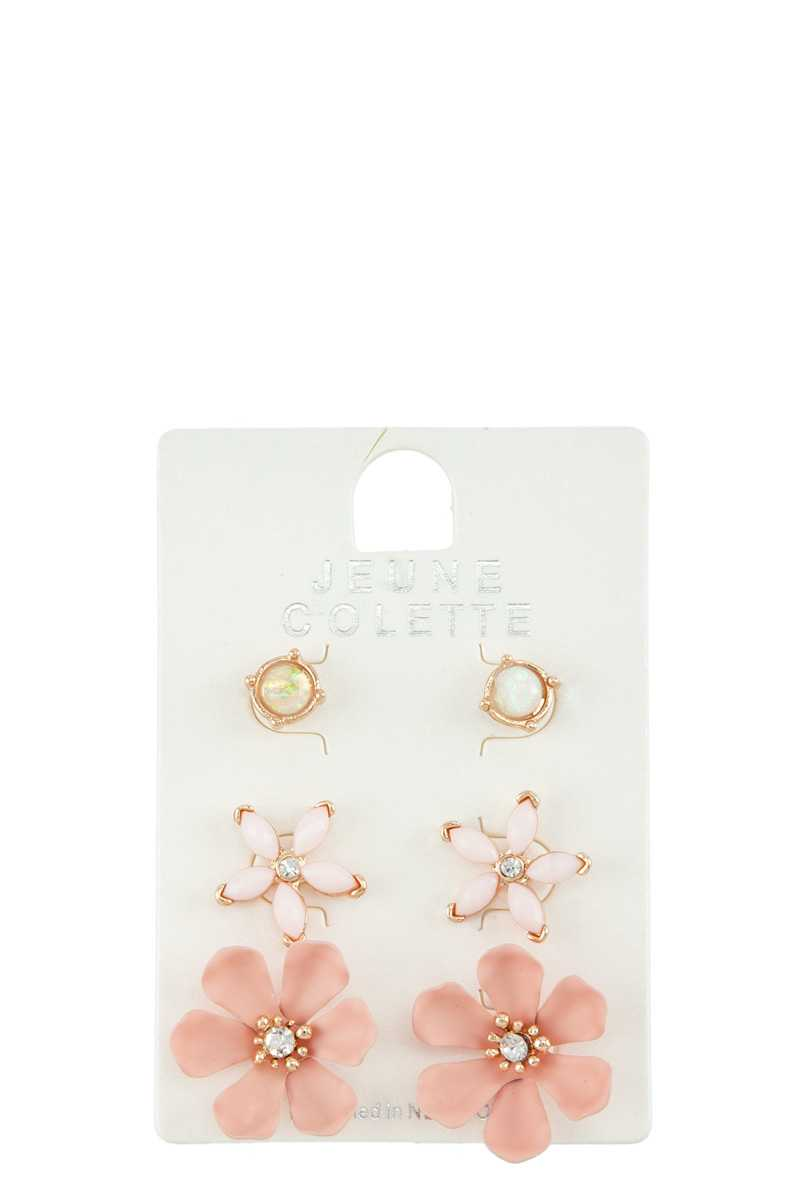 Mixed Floral Stud Earring Set