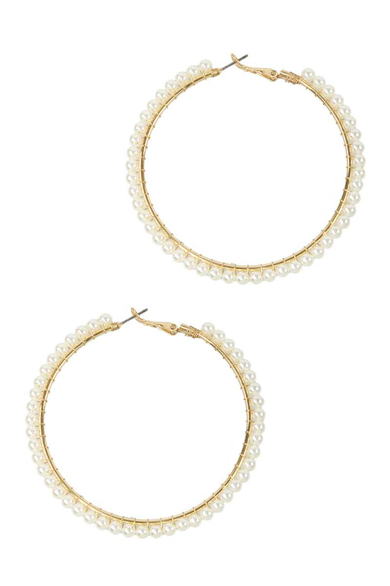 70mm Pearl Beads Wrapped Hoop Earring