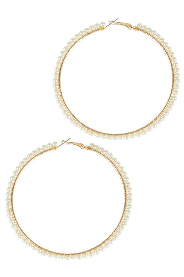 90mm Pearl Beads Wrapped Hoop Earring
