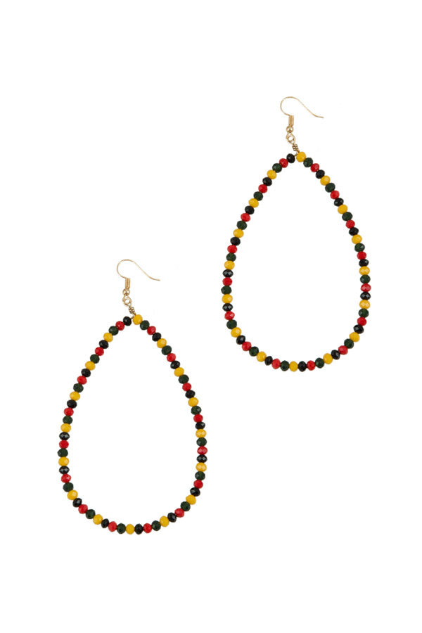 Multi Color Beads Teardrop Wire Earring