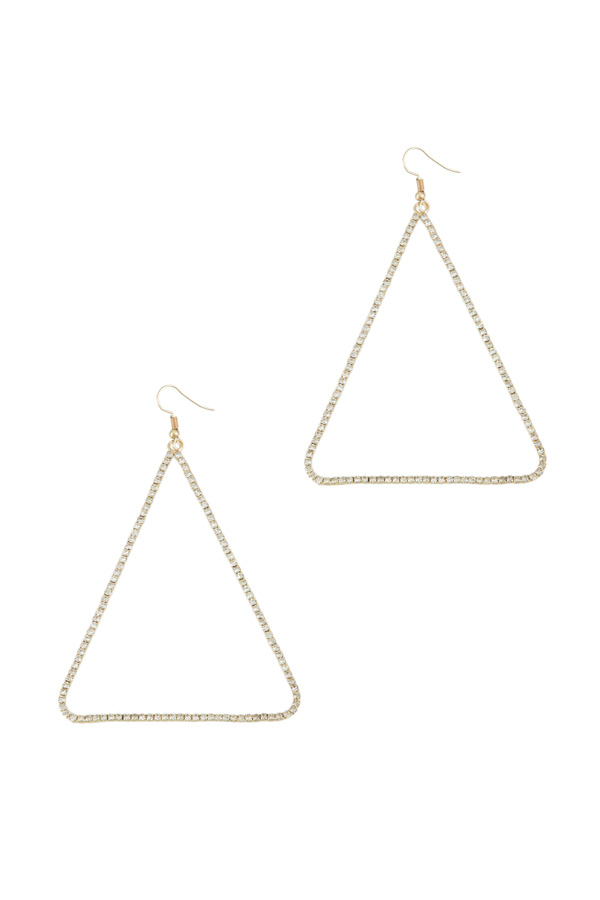 80mm Triangle Rhinestone Hook Earring