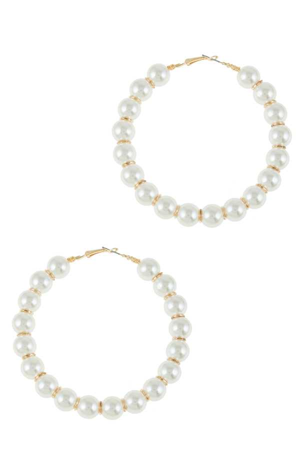 80mm Hoop Earring with 12mm Pearl Ball