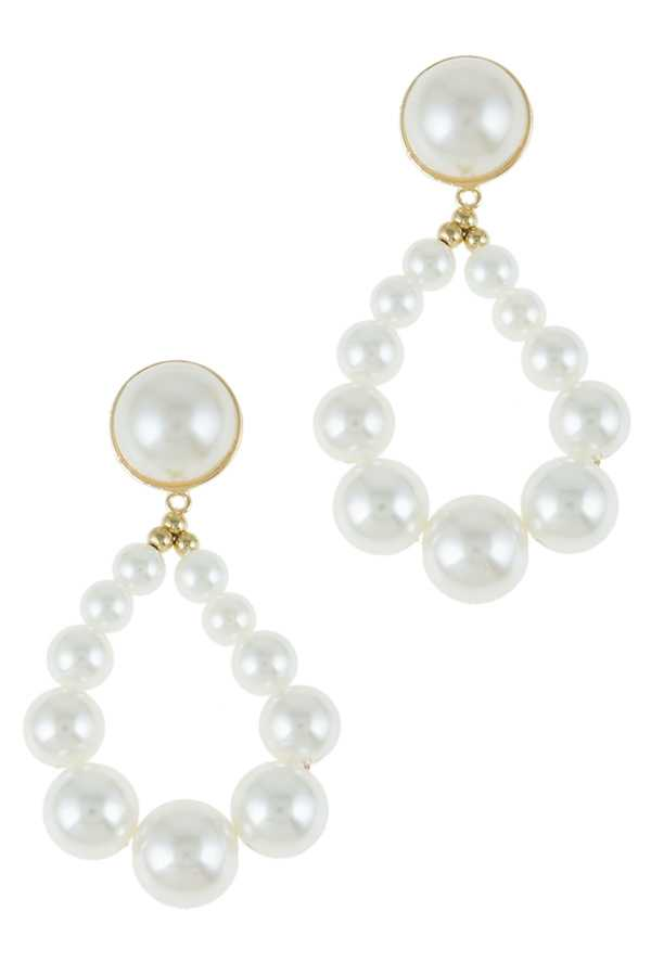 Teardrop Shape Pearl Drop Stud Earring