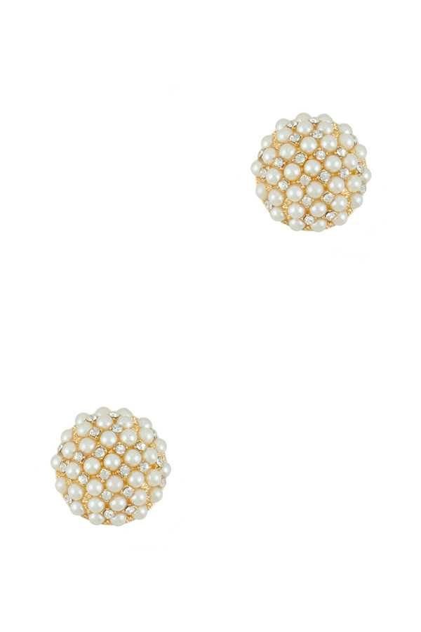 Pearl and Rhinestone Mix and Pave Stud Earring