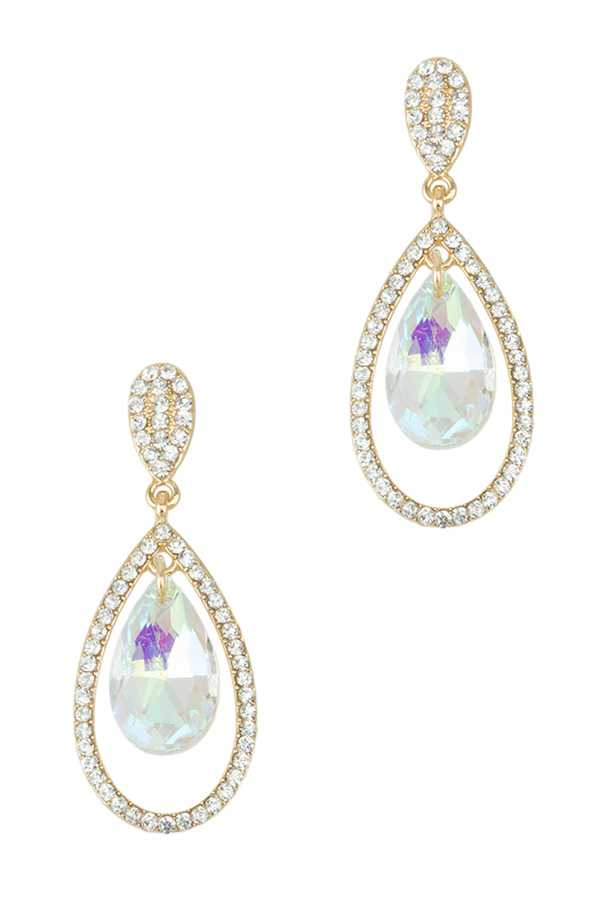 Teardrop Crystal Layered Stud Earring