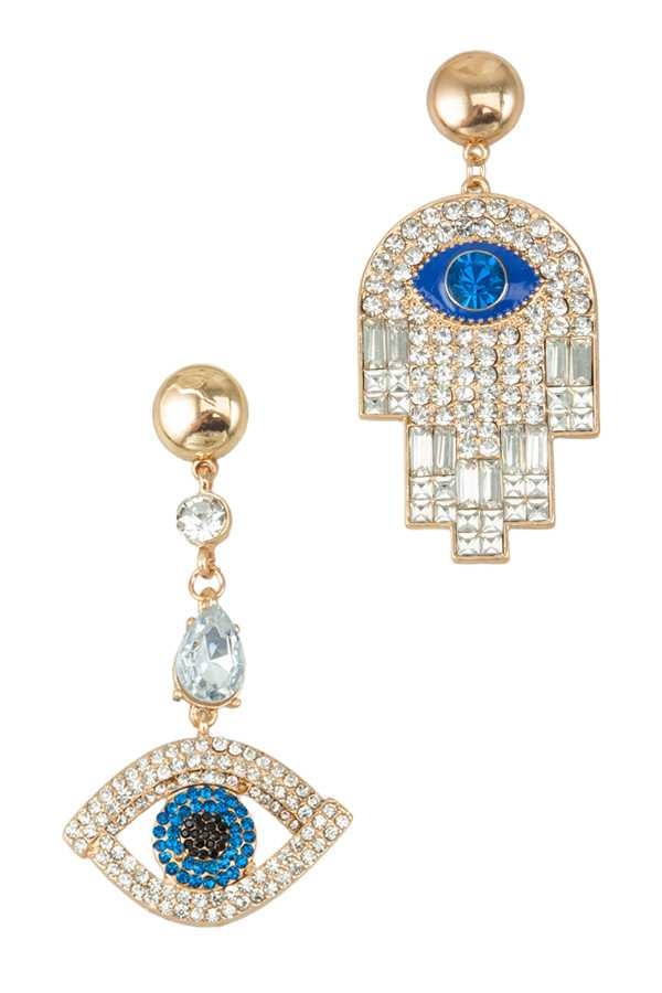 Hamsa and Evil Eye Drop Earring