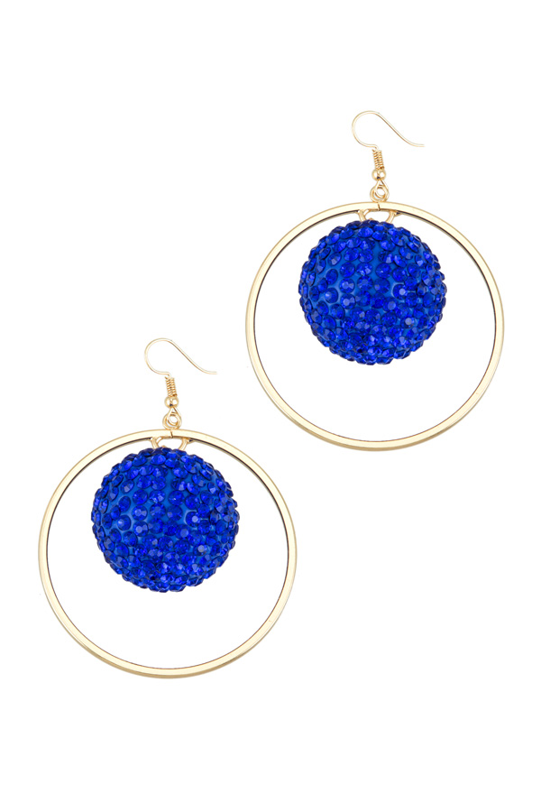 Bling Ball with Circle Hook Earring
