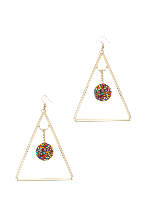 Bling Tiny Ball with Triangle Hook Earring