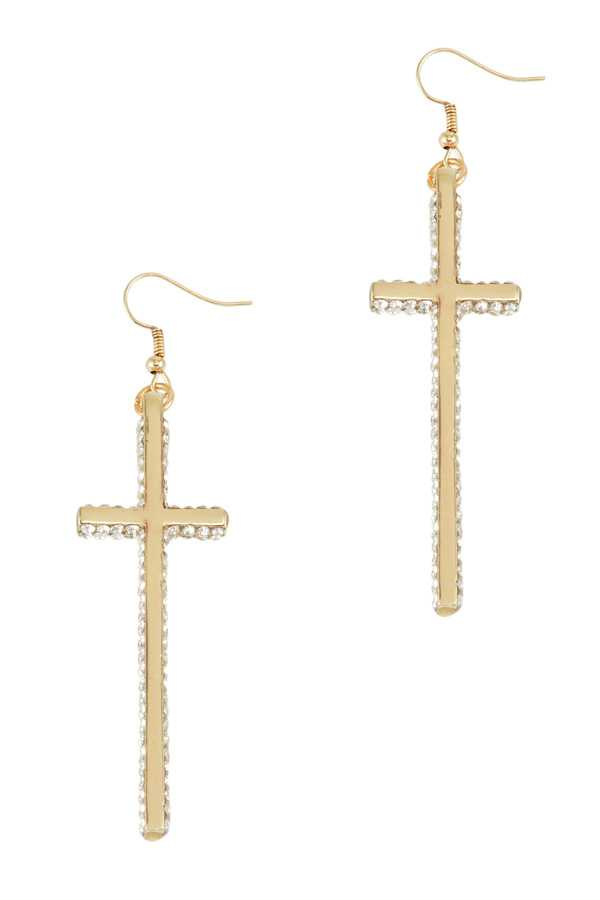 Long Cross Dangle Drop Earring with Rhinestone Accents