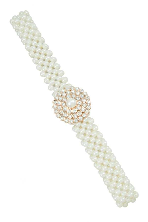 Round Rhinestone Buckle Pearl Stretch Belt