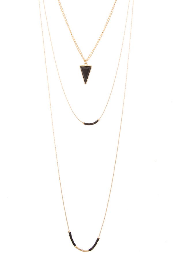 Faux faceted triangle stone accent layered necklace