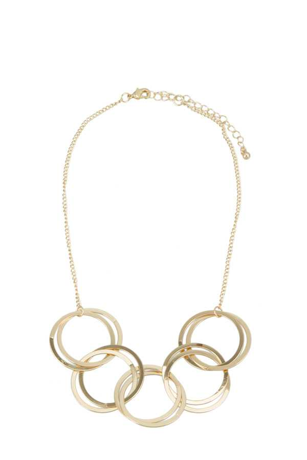 Multiple Circles Linked Necklace