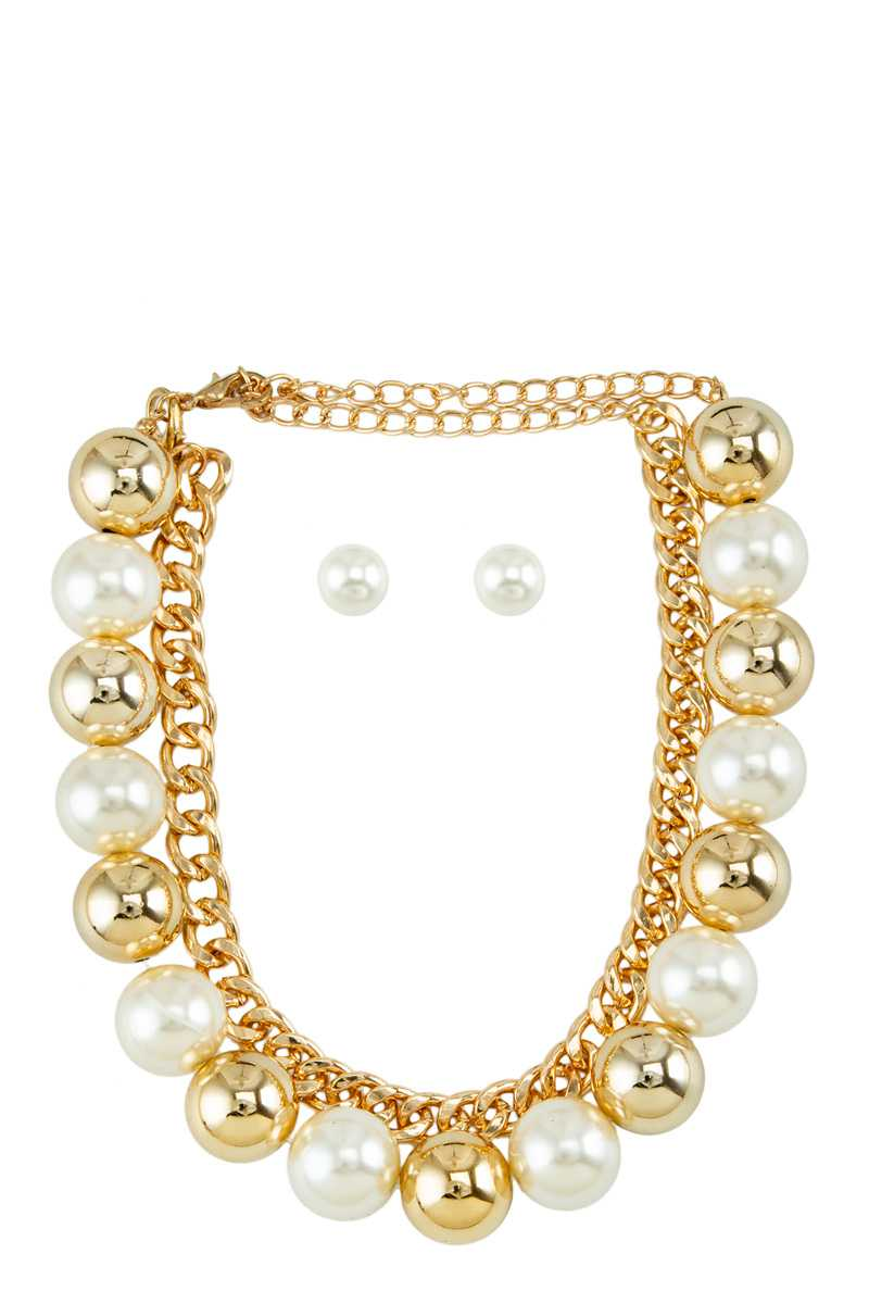 Pearl and Metal Ball Mixed Double Line Necklace