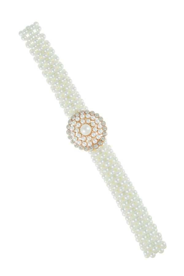 Rhinestone and Pearl Pave Buckle Stretchy Belt